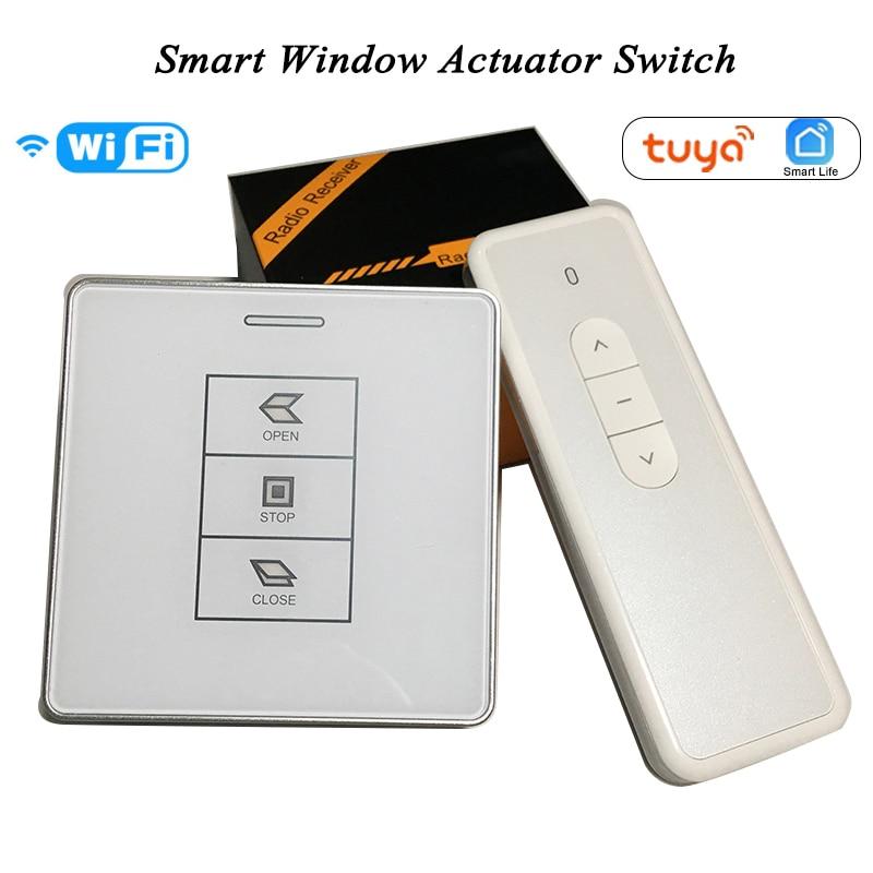 DC24V AC100-240V Tuya Smart Wifi Switch RF Receiver Remote Control For Chain Motorized Window Actuatorr Motor Wall Switch