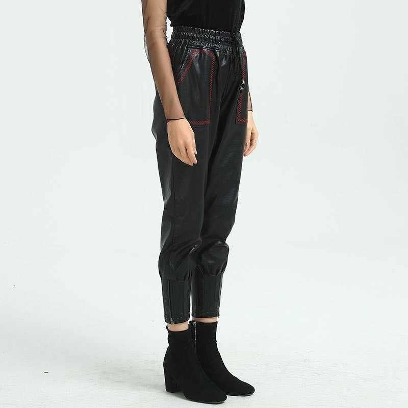 ファッション女性弾性ウエストジョギング高品質 Pu レザーパンツハイトウエストボーイフレンドスタイルハーレムパンツカジュアルなズボン女性