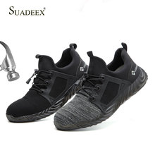 SUASEEX Safety Shoes Men Summer Breathable Working Sneakers Anti-Smashing Puncture Proof Construction Outdoor Casual