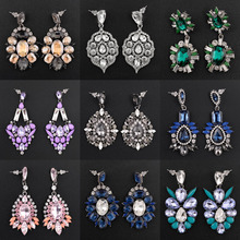 Luxury Crystal Earrings for Women Rhinestone Statement Earings Chandelier Wedding Dangle Drop Earring Fashion Jewelry Vintage