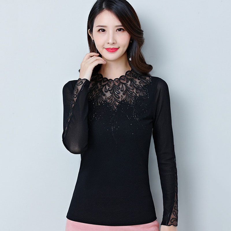 T Shirt Women High Elasticity Korean Stranger Things Long Sleeve T-shirt Luxury Embroidered Party Tops Black Femme Bottoming