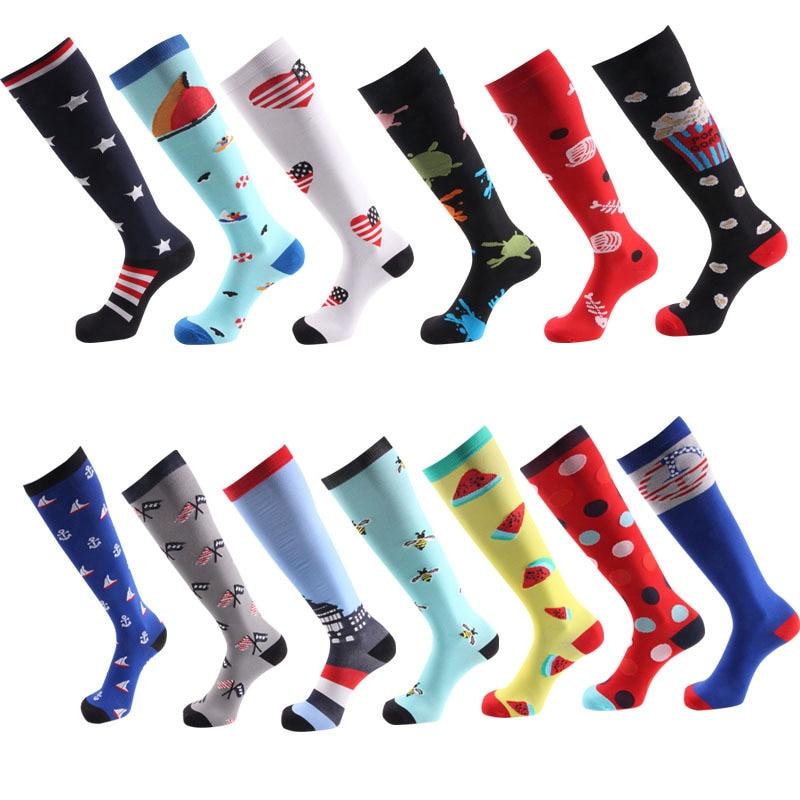 Compression Socks Crossfit Socks Women Men Anti Fatigue Golf Rugby Socks Pain Relief Knee High Stockings 15-20 MmHg Graduated