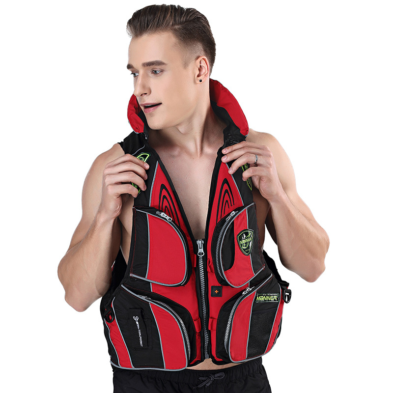 MANNER Fishing Vest Multi-pockets Outdoor Adult Fu Li Yi Swimming Vest Cross Border Non-Professional Life Jacket