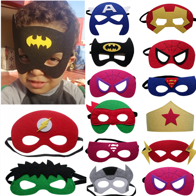 15 pieces / batch superhero theme half face mask costume dress up mask birthday party decoration supplies kids children gifts