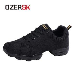 Image 1 - OZERSK 2021 erkekler rahat ayakkabılar marka erkek yaz ayakkabı Sneakers Flats örgü Lace Up loaferlar nefes yürüyüş ayakkabısı Size 39 ~ 44
