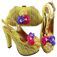 Nigerian Summer Woman Pumps Shoes And Bag Set African Style Fashion High Heels Shoes And Matching Bag Set For Party