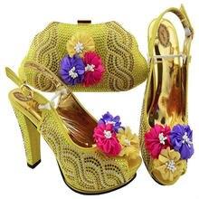 Nigeriano verão mulher bombas sapatos e bolsa conjunto estilo africano moda sapatos de salto alto e correspondência saco conjunto para festa