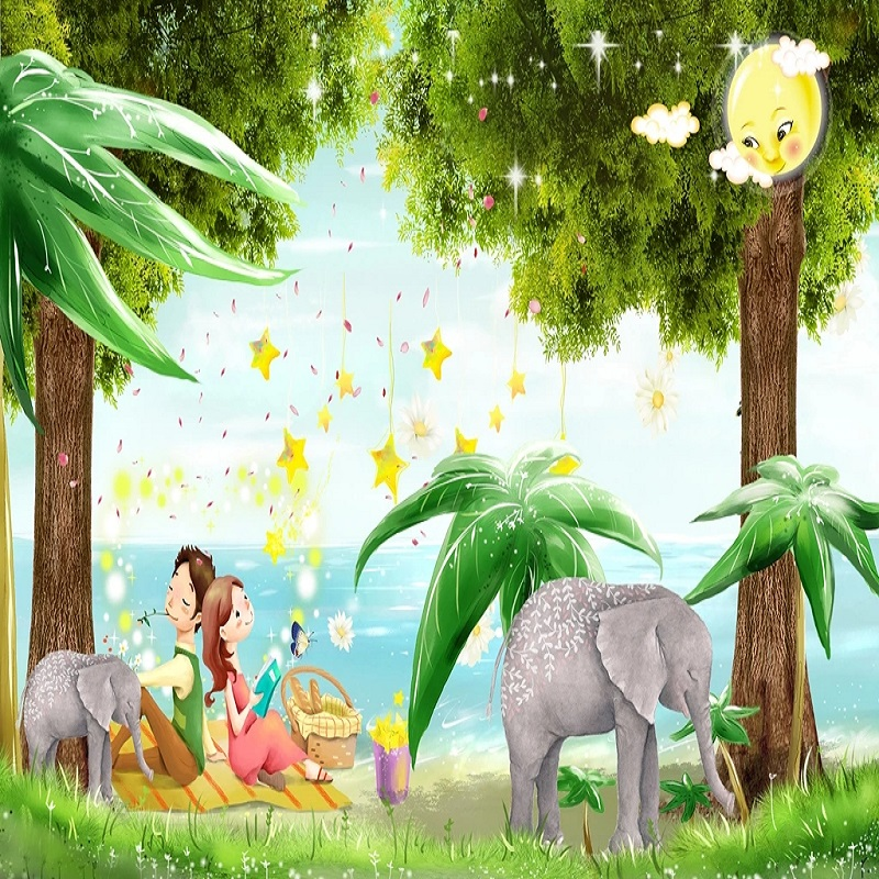 Custom Large Mural 3D Wallpaper Cartoon Cute Fantasy World Big Tree Child Bedroom Mural TV Back Wall Decor Deep 5D Embossed