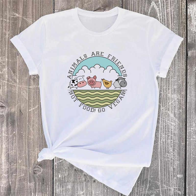 Vegan Kartun Lucu T Shirt Teman-teman Tidak Makanan T-shirt Fashion Feamle Kaos Tee Hadiah untuk Vegan Kemeja Wanita Pakaian