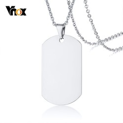 Vnox Stainless Steel Necklace Mirror Dog Tag Pendant with 20/24 inch O Chain