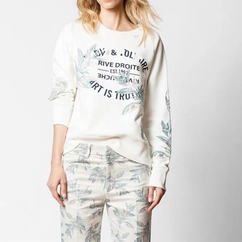 New Fall Winter White Sweatshirt Long Sleeve Flower Letter Embroidery Pullover Top