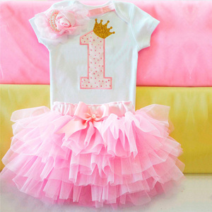 1 Year Old Little Princess 1st First Birthday 3pcs Sets Newborn Baby Girls Clothes Infant Baby Baptism Outfits Kids Dresses(China)