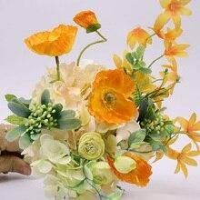 Naranja soporte para ramo de flores Vintage Artificial flores de seda de peonía ramo hogar boda decoración PH040