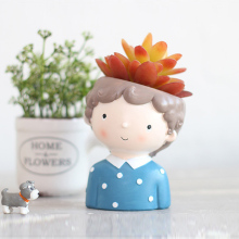 Creative resin fleshy flower pot cartoon couple office desktop potted plant Original ornament decoration creative flower pot