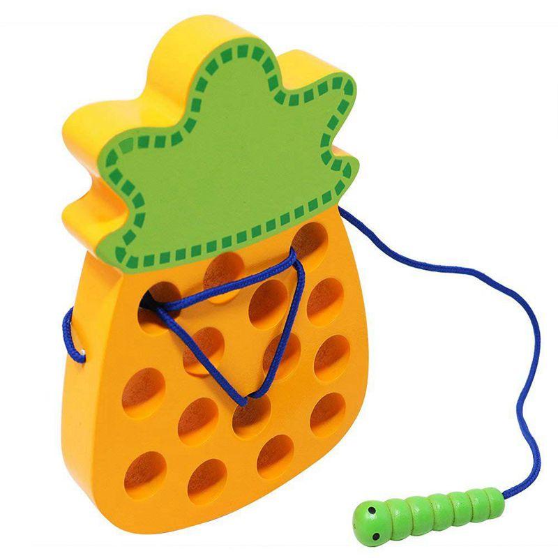 Kids//Baby Developmental Montessori Wooden Caterpillar Threading Puzzle Game Toy