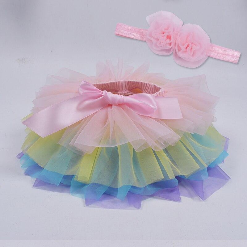Юбка-пачка для маленьких девочек, комплект из 2 предметов, кружевные трусы из тюля, Одежда для новорожденных, Одежда для младенцев Mauv, повязка на голову с цветочным принтом, Детские сетчатые трусики - Цвет: colorful2