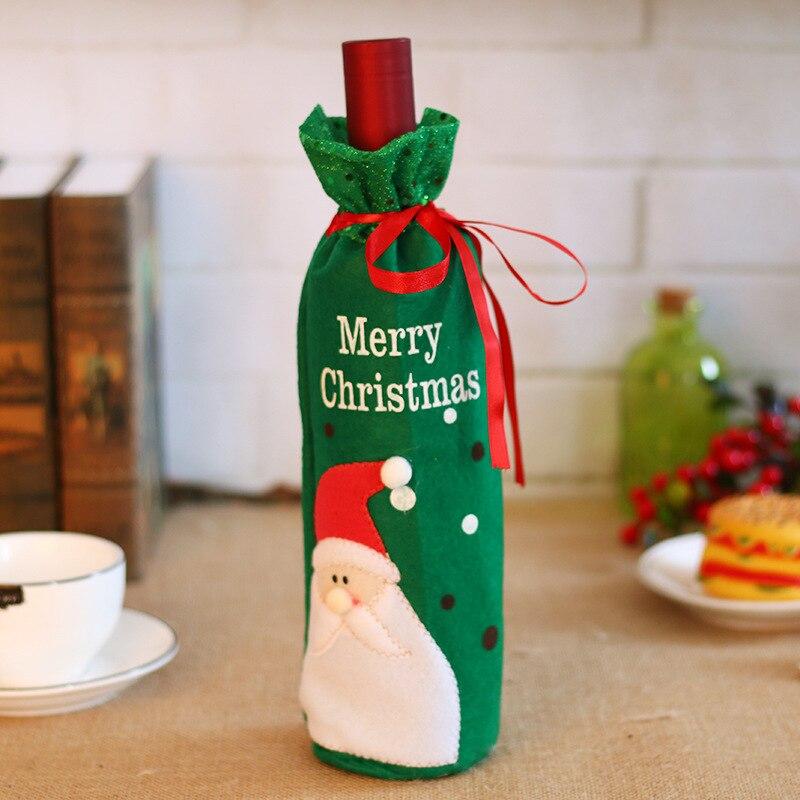 50 шт./лот, Рождественское украшение для дома, крышка для винных бутылок, Рождественский стол, макет, Подарочный пакет, Санта Клаус, прямые пос... - 3