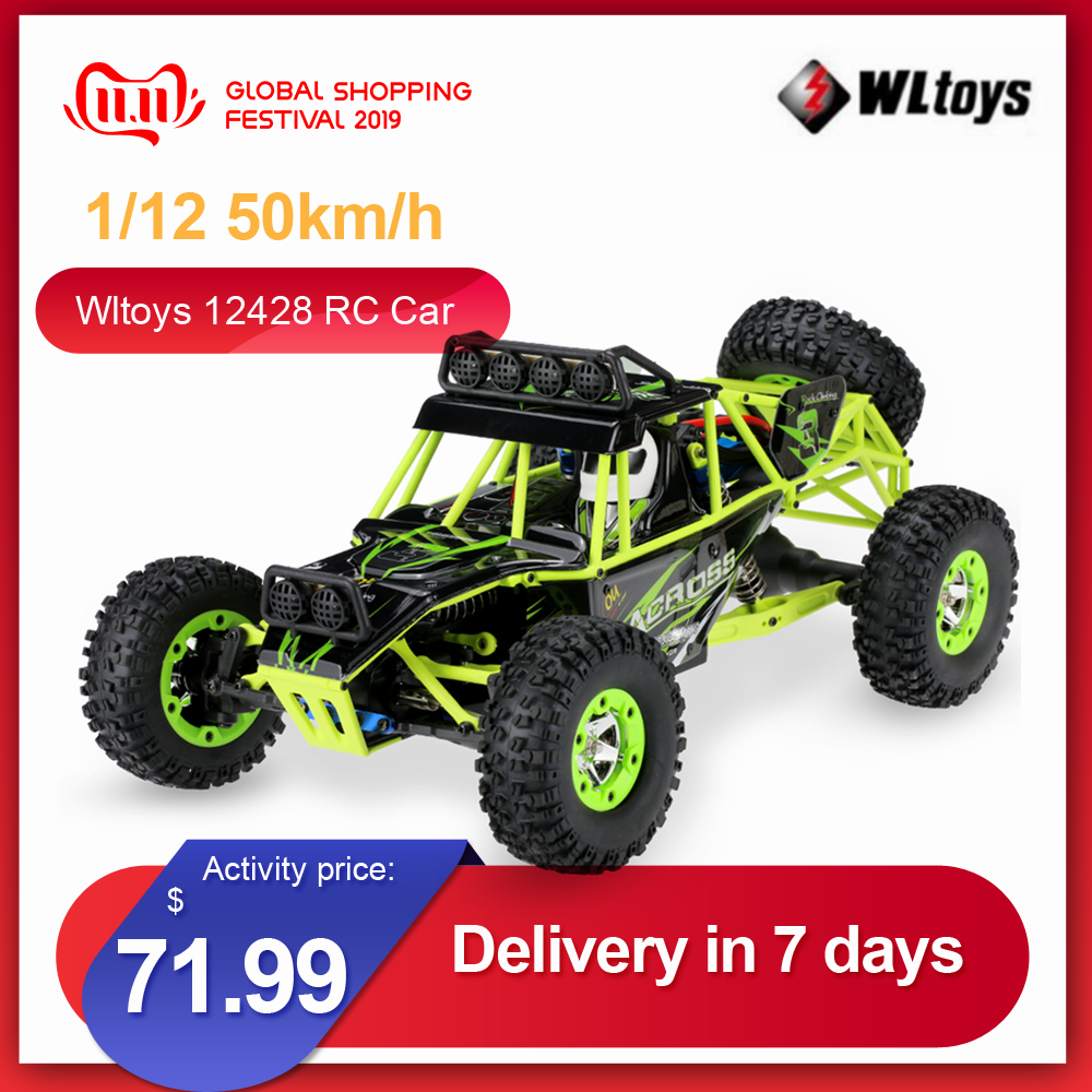 Wltoys 12428 1/12 RC Climbing Car 2.4G 4WD 50KM/H High Speed RC Car Electric Toys Brushed Crawler RTR Off-road Vehicle