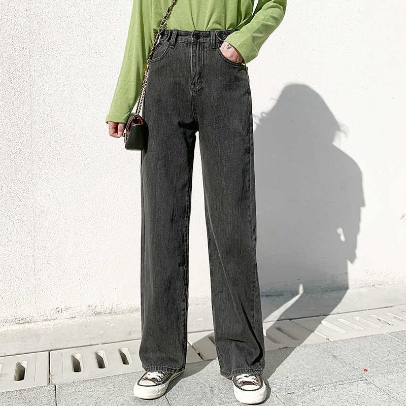 여자 청바지 높은 허리 옷 넓은 다리 데님 의류 블루 Streetwear 빈티지 품질 2020 패션 하라주쿠 스트레이트 바지