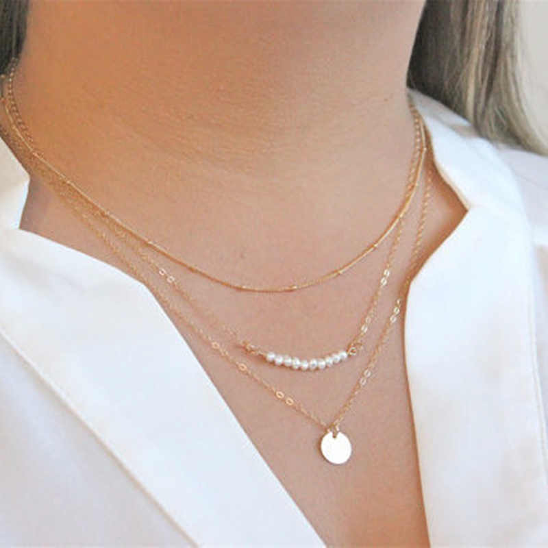 New Simple Sequins Coin Pearl Multilayer Chain Tassel Tiny Clavicle Necklaces Set For Women Jewelry Birthday Gift CND90