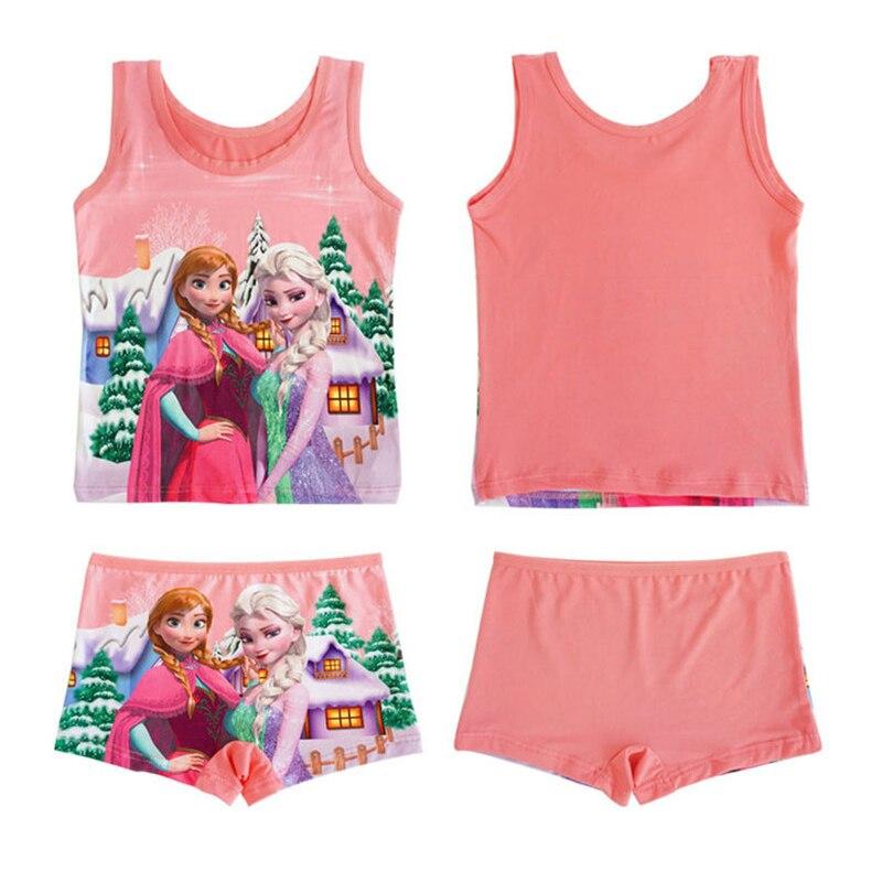 Kids Girls   Pajamas     Sets   Summer Cartoon Anna Elsa Pyjamas Baby Girl Boys Vest Pant   Set   Children Sleepwear Superman Homewear