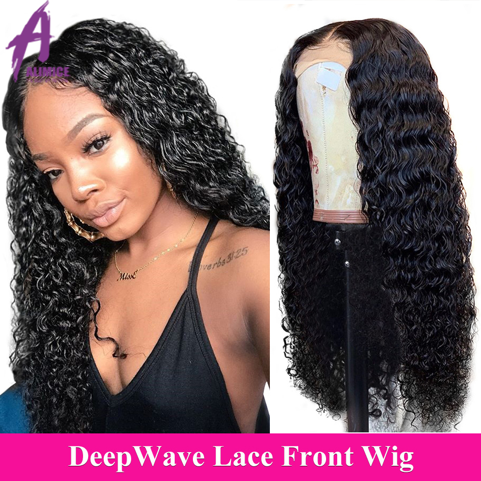 13x4 Brazilian Hair Deep Wave Lace Front Wig 8-24 Inch Glueless Lace Front Human Hair Wigs Alimice Remy Hair Wig For Black Women