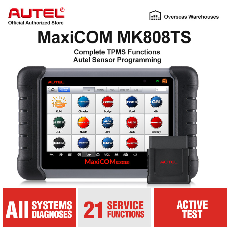 Original Autel Maxicom MK808TS Professional Automotive Diagnostic Tool TPMS Relearn Reset Programming Car Scanner Auto Scan Tool-in Engine Analyzer from Automobiles & Motorcycles on