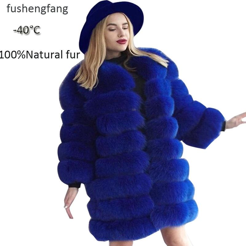 Parka Real Fur Russian Fur Coat 2019 Winter New Fashion Fox Fur Detachable Ladies Winter Fur Long Coat Large Size Custom