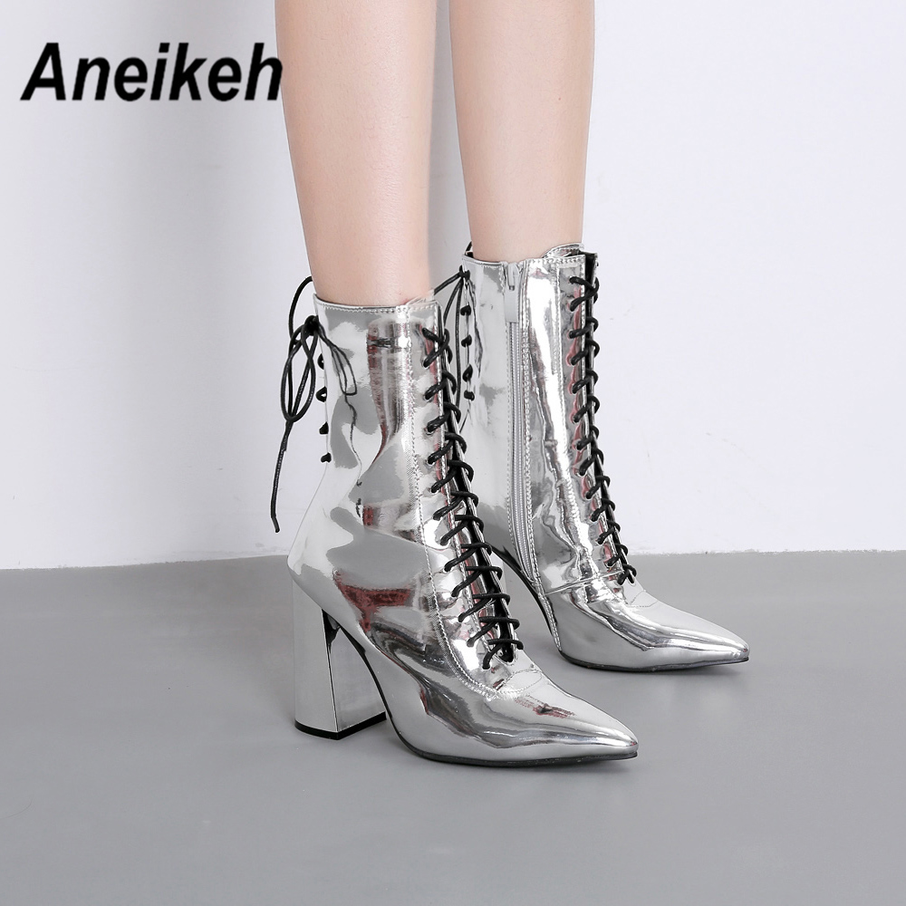 Aneikeh New 2019 Fashion PU Women Boots Zipper Shallow Square Heel Heels Shoes Party Dance Ankle Boot Pointed Toe Size 35-40