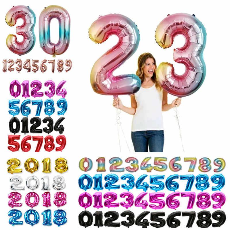 32 40 Inch Besar Hitam Nomor Balon Anak Balon Pesta Pernikahan Bola Udara Dekorasi Pesta Ulang Tahun Anak Figurerose Emas Balon