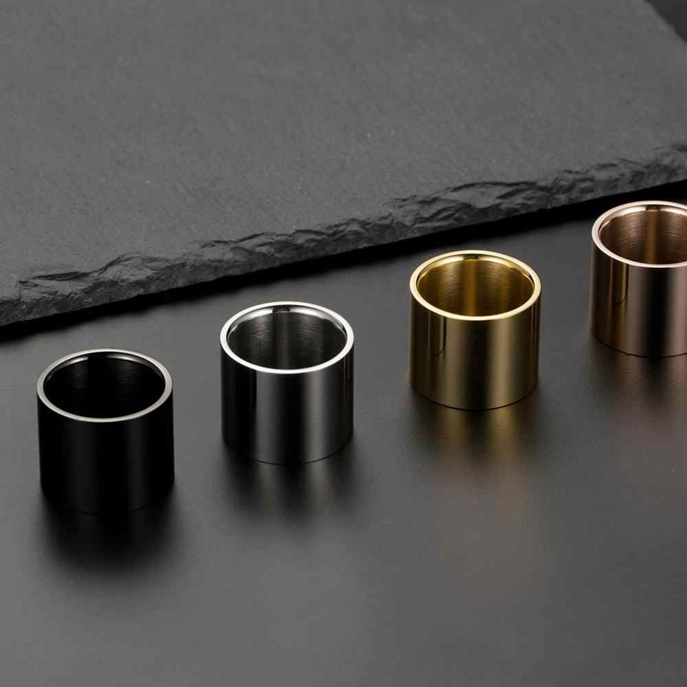 Fashion High Polished Long Tube Stainless Steel Wide Ring For Men Rose Gold/Silver/Black/Gold Color Big Ring