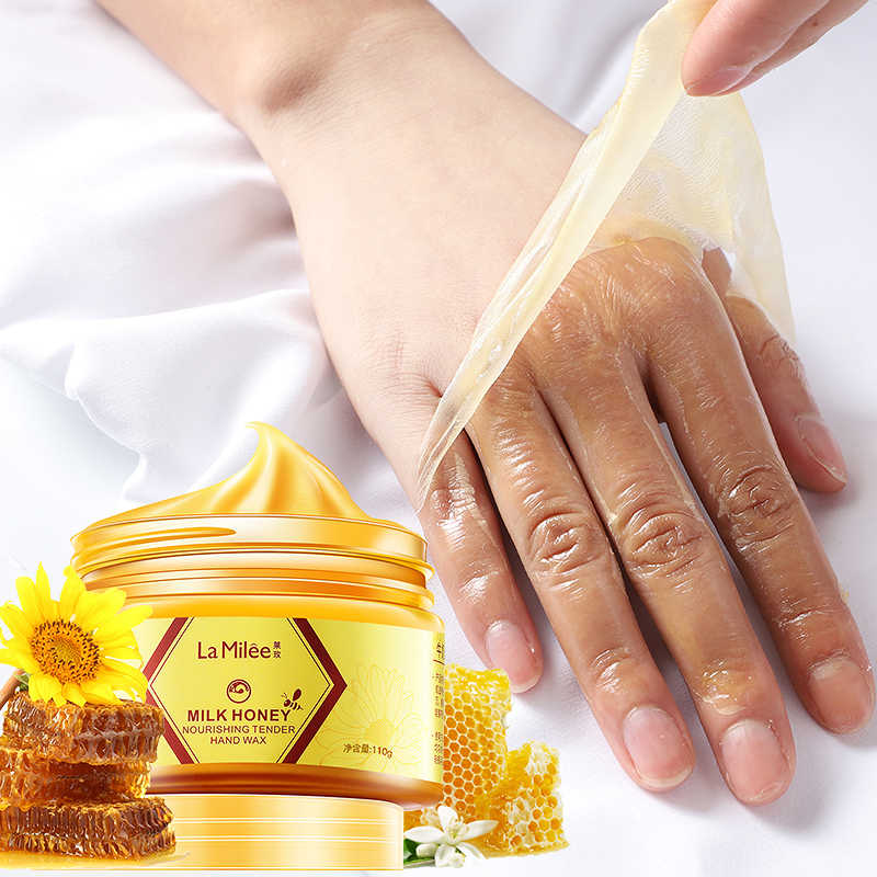 LAMILEE นมน้ำผึ้งมือ Hand Wax Moisturizing Whitening Skin Care Exfoliating Calluses Hand ฟิล์ม Hands Care ครีม 110g