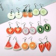 الاكريليك الأقراط لطيف الفاكهة انخفاض الأقراط التفاح الأناناس أقراط الطماطم التنين الكيوي البرتقال الخيار الفاكهة أقراط داينتي هدية