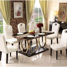 Набор столовой из нержавеющей стали минималистичный современный деревянный обеденный стол и 6 стульев деревянный кожаный обеденный стол mesa muebles comedor