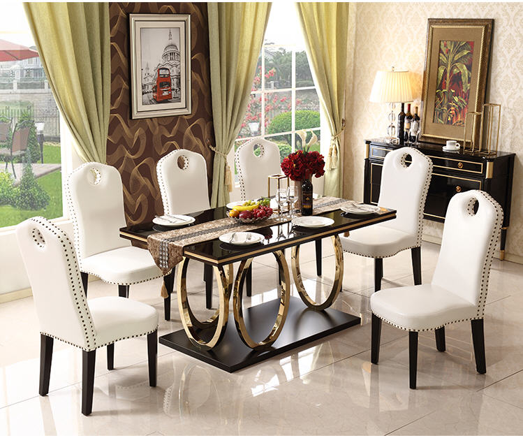 Stainless Steel Dining Room Set Minimalist Modern Wooden Dining Table And 6 Chairs Wooden Leather Mesa De Jantar Muebles Comedor