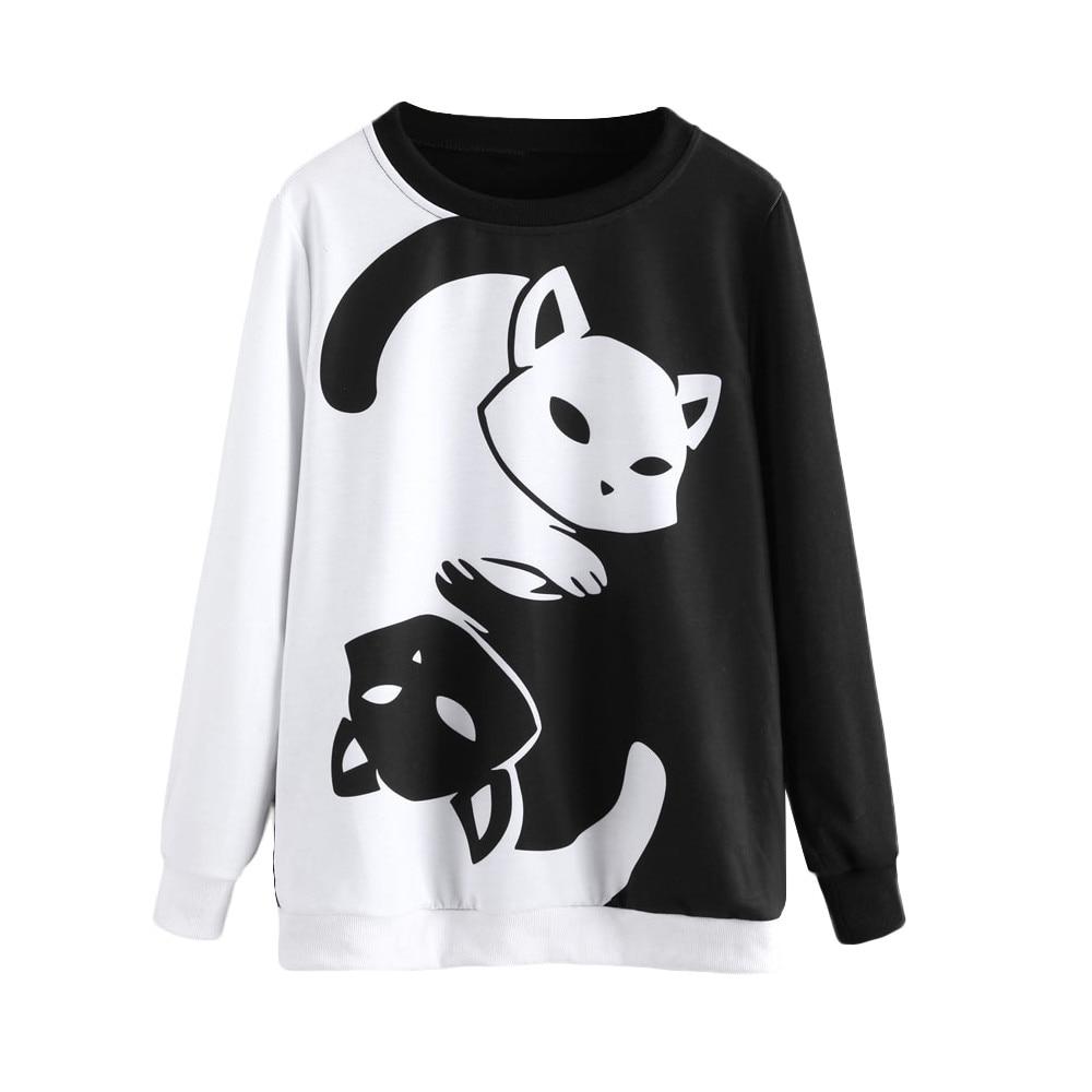 JAYCOSIN Pure White Cute Lady Cat Long-sleeved Sweatshirt Top Printed Casual Sweatshirt Sports Loose Sister Style Autumn Winter