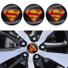 Peças de automóvel 4 pces 65mm centro da roda adesivo capa cubo de roda logotipo etiqueta capa superman-logotipo modificação do carro adesivo
