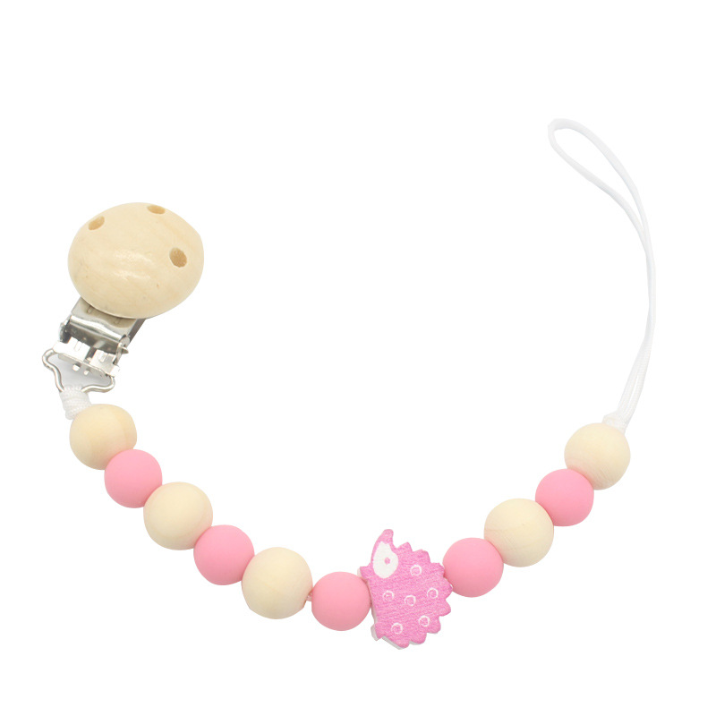 2020 New Baby Silicone Pacifier Chain Silicone Loose Beads Cartoon Hedgehog Toddler Silicone Pacifier Clip Baby Teething Chain