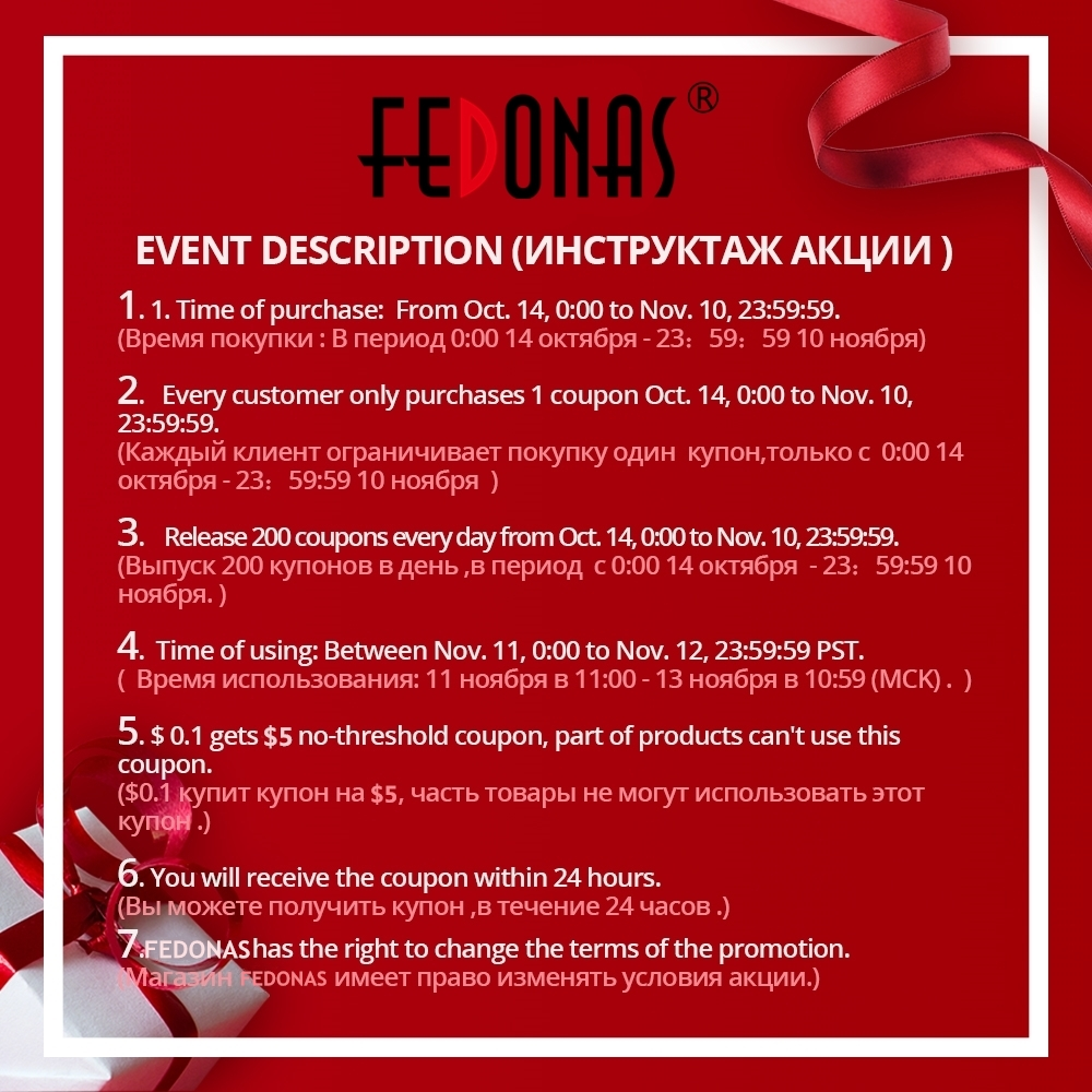 【Using time: 11, Nov. 00:00 to 12, Nov. 23:59 PST】FEDONAS 10 cents Buy 5 dollar coupon ,some goods can not be used