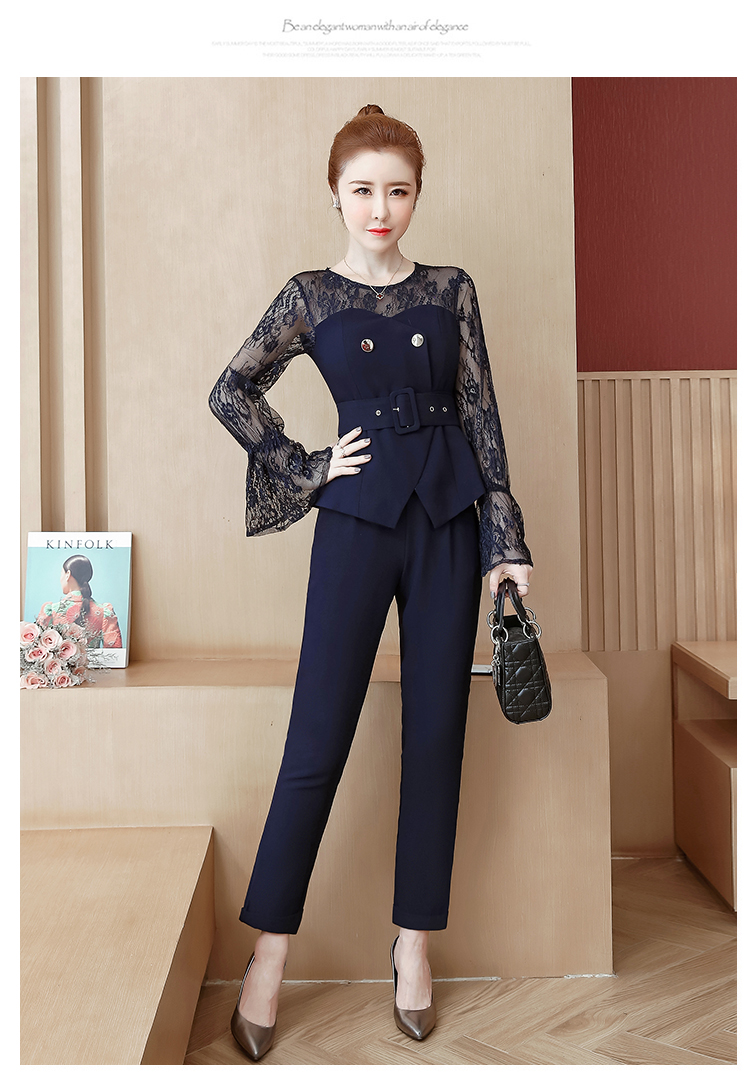 Blue Lace Office Two Piece Sets Outfits Women Plus Size Flare Sleeve Tops And Pants Suits Elegant Ladies Ol Style Korean Sets 39