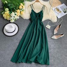 Backless Dresses Robe Spaghetti-Strap White Green Summer Elegant Women Vintage Vestidos