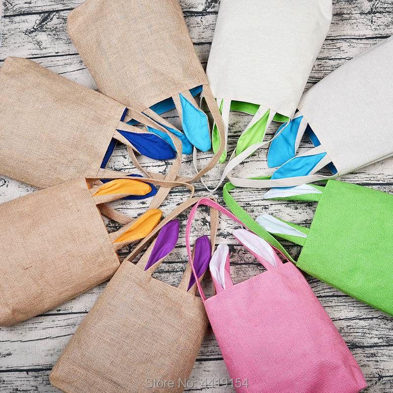 En gros 18 couleurs pâques lapin fourre-tout sac à main toile lapin oreille pâques oeuf chasse paniers mignon pâques bonbons jouets cadeau sac pour enfants