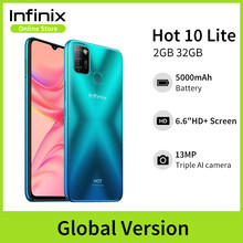 Versão global Infinix Hot 10 Lite 2GB 32GB Smart Phone 6.6''HD 1600 * 720P Bateria 5000mAh Câmera 13MP Helio A20