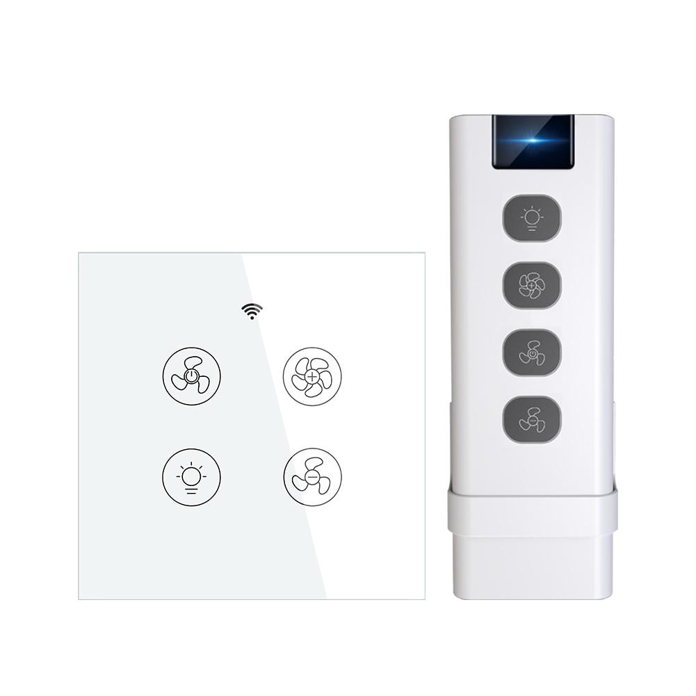 EU WiFi RF Smart Ceiling Fan Light 2/3 Way Control Smart Life/Tuya APP RF Remote Speed Control Alexa Google Home Compatible