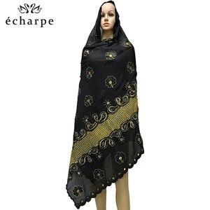 Image 4 - 新アフリカイスラム教徒刺繍女性綿スカーフ経済的な、綿ビッグサイズ女性スカーフショール EC200