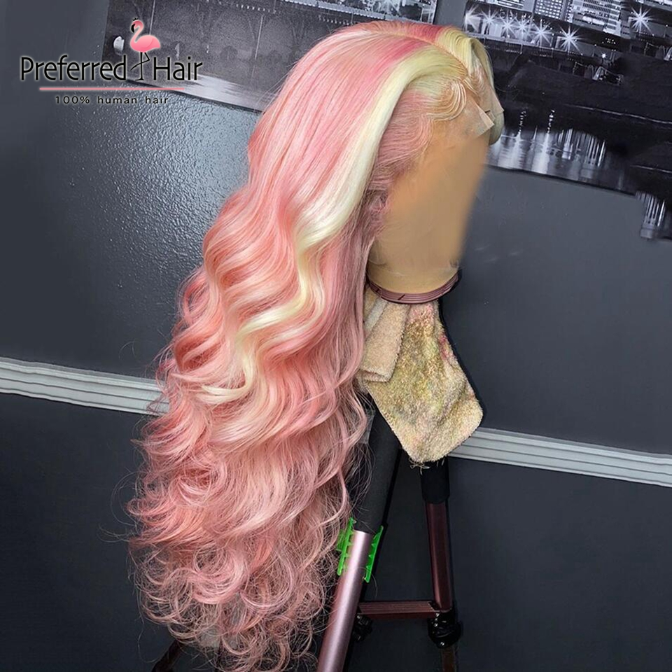 Preferred Transparent Lace Wigs Preplucked 13x6 Pink Highlight Wig Brazilian Remy Lace Front Human Hair Wigs For Black Women
