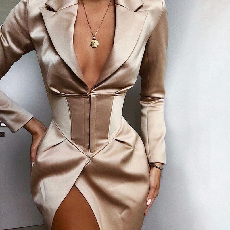 Aartiee Sexy V Neck Mini Blazer Dress Elegant Long Sleeve Bodycon Women Dresses 2019 Autumn Winter Party Ladies Blazer Outwear