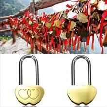 Hot Sale 1X Fine Padlock Love Lock Engraved Double Heart Valentines Anniversary Day Gifts Couple Christmas Gift New arrival