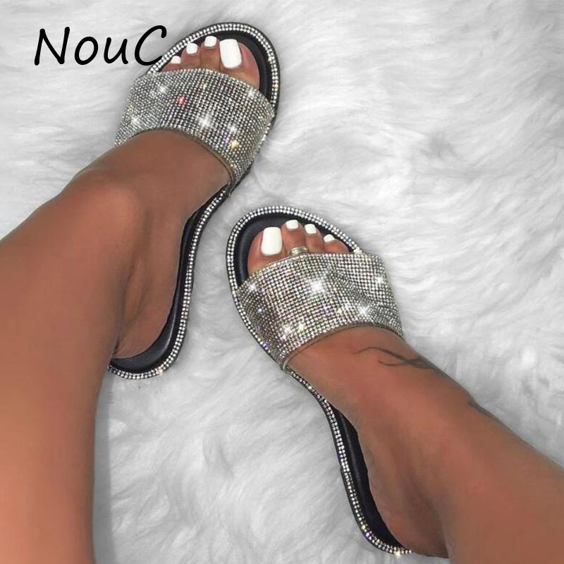 Rhinestone Slippers 2020 Summer Women Crystal Glitter Flat  Bling Slippers Sexy Flip Flops Sandals Outdoor Beach Ladies Slides