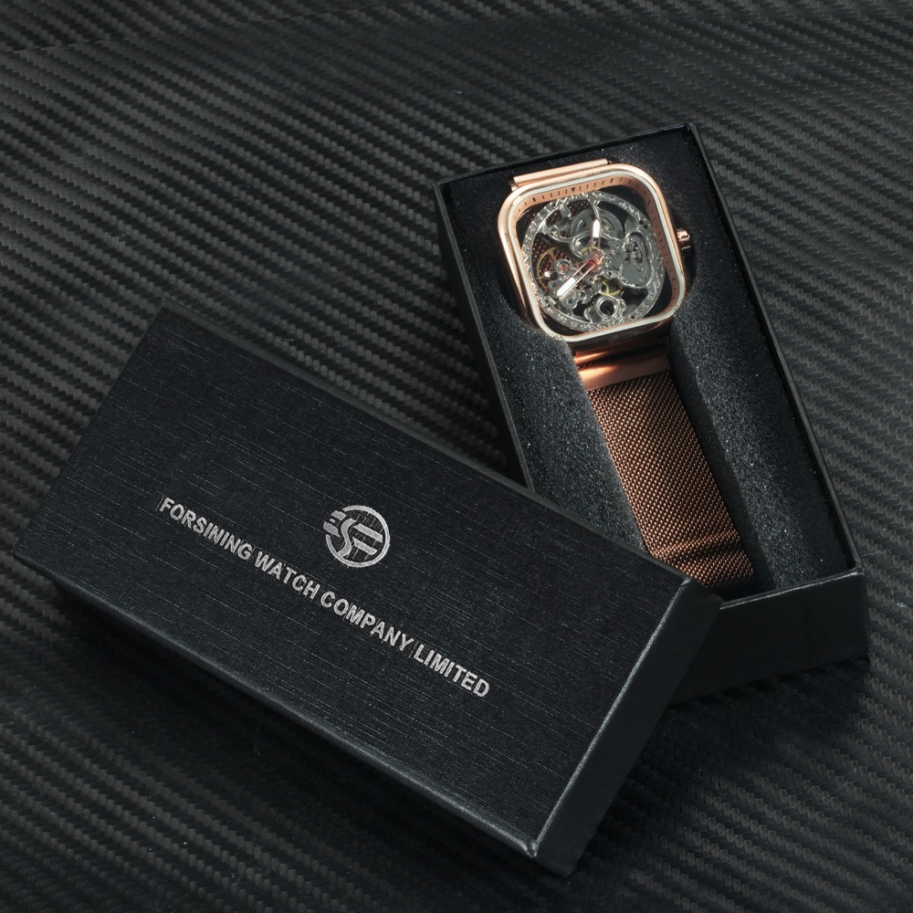 H88814bfe9f56443fa81ad66ebf350655t FORSINING Top Brand Luxury Unisex Watch Men Auto Mechanical Hollow Dial Magnet Strap Fashion Royal Wristwatch HIP HOP Male Clock